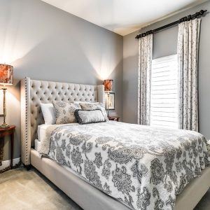 custom curtains, bedding, and pillows