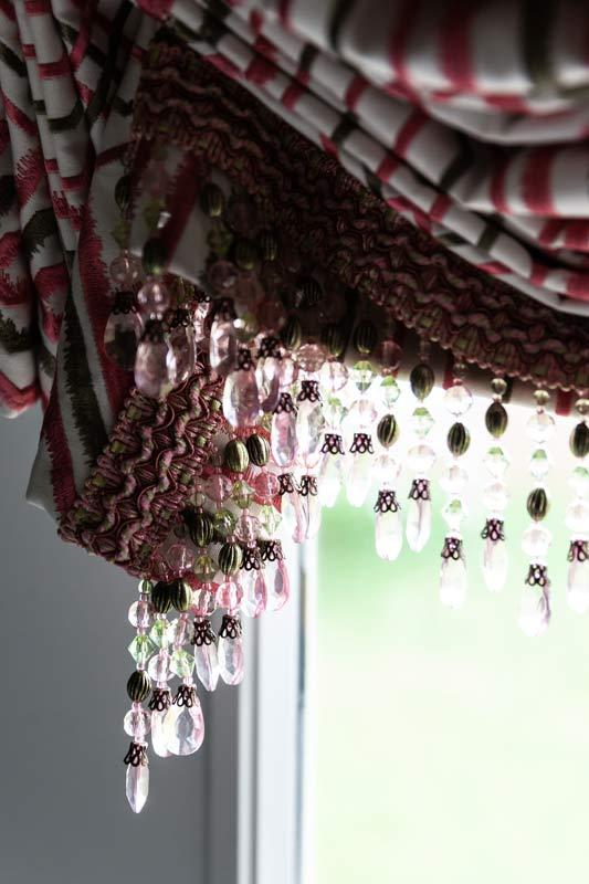 detail of bead fringe on door shade