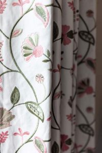detail of floral curtain fabric
