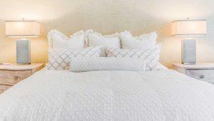 white on white bed