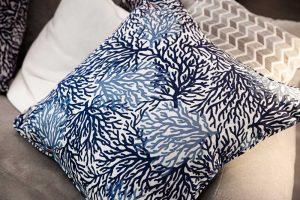 detail of blue seaweed pillow