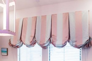pink stripe curtains
