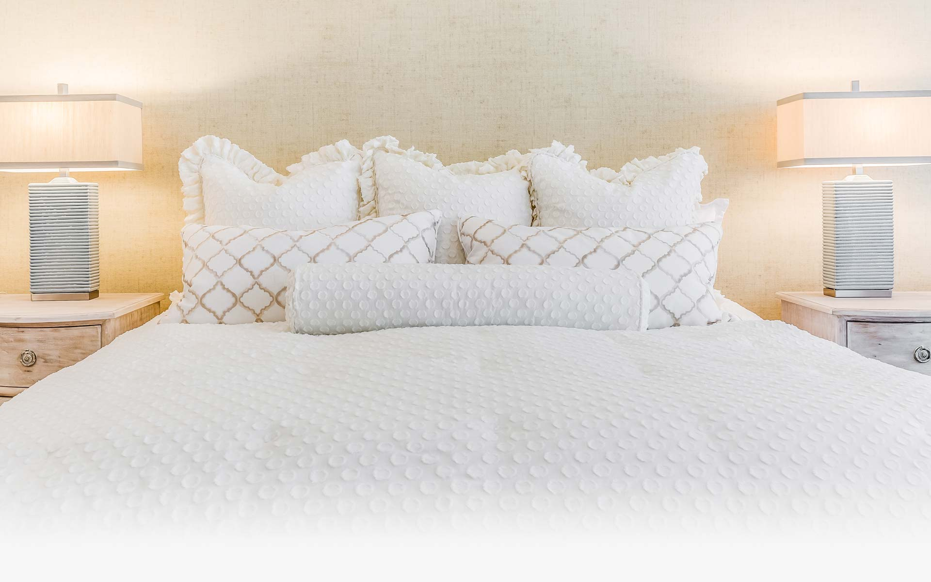 white on white bed